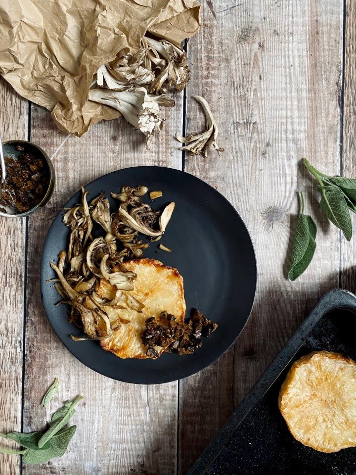 Celeriac Steaks with Sage Mushrooms & PickledWalnuts