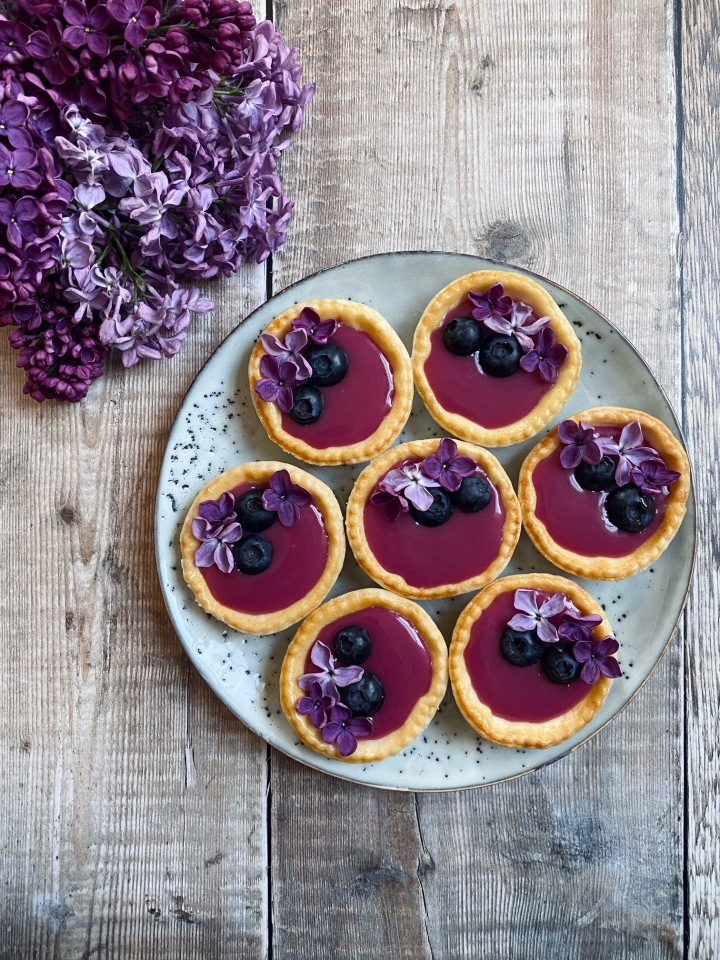 Lilac & Blueberry Curd Tarts