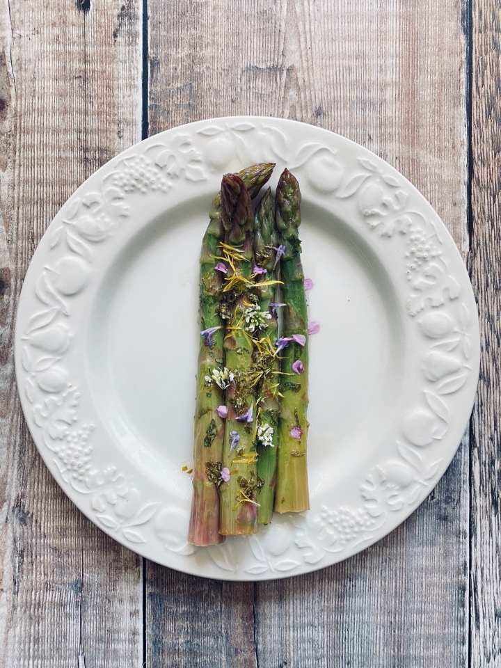 Asparagus with Wild Greens and Dandelion Honey