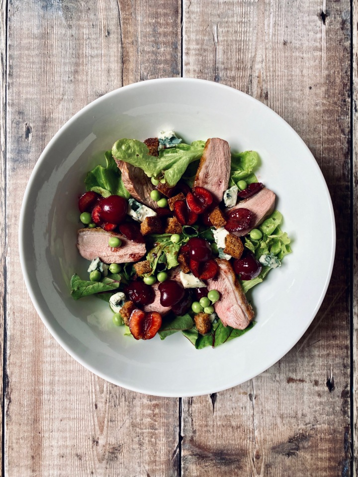 Duck Salad with Cherry & Port Dressing