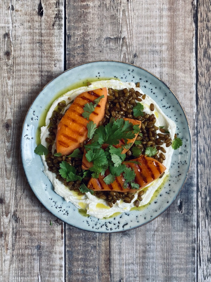 Grilled Melon with Labneh, Smoky Grains and Chilli Oil