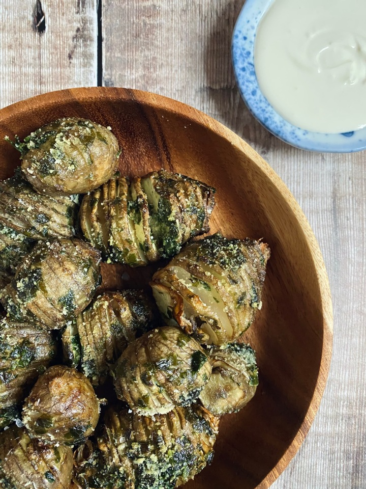 Hasselback Jerusalem Artichokes with Wild Garlic Butter