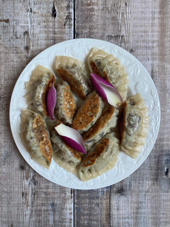 Wild Garlic, Mushroom, and Magnolia Petal Gyoza